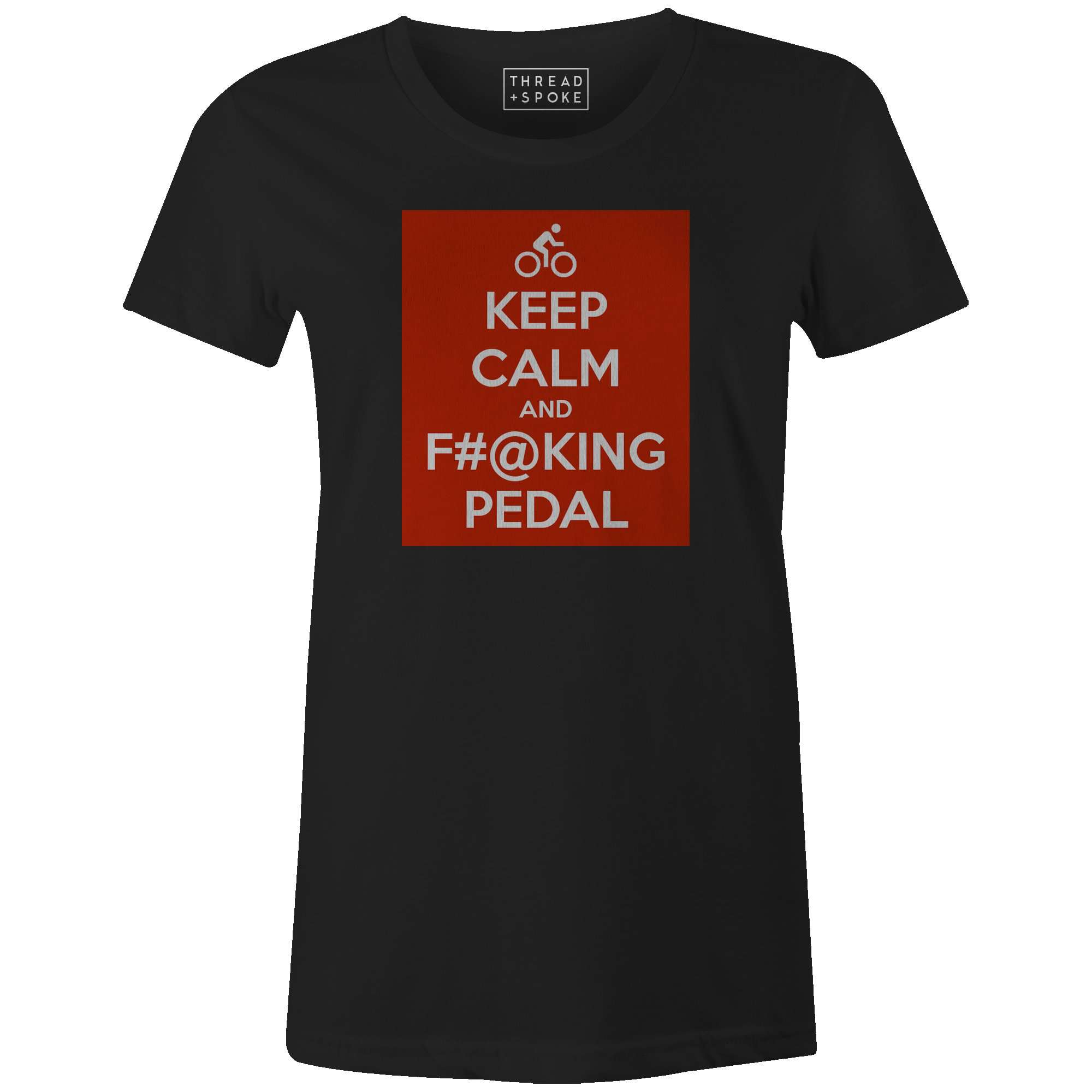 Keep Calm and Pedal Women'sMile24 - THREAD+SPOKE | MTB APPAREL | ROAD BIKING T-SHIRTS | BICYCLE T SHIRTS |