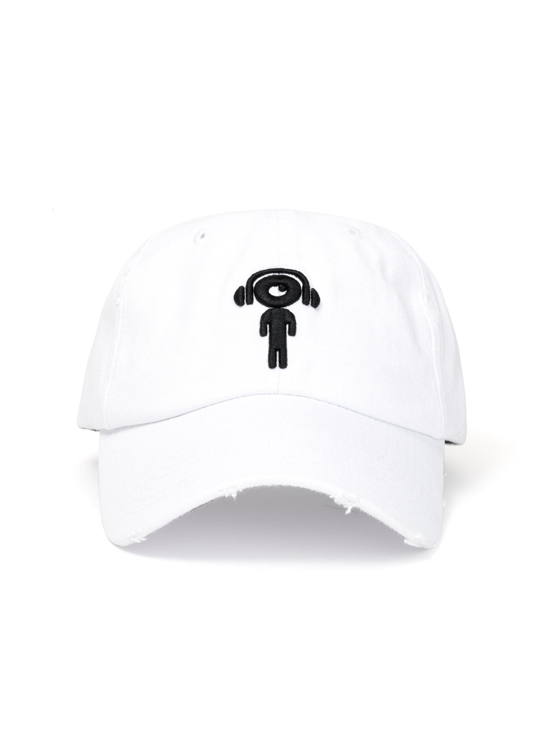 DISTRESS DAD HAT WHITE - BLACK LIL MAN - Triangulo Swag
