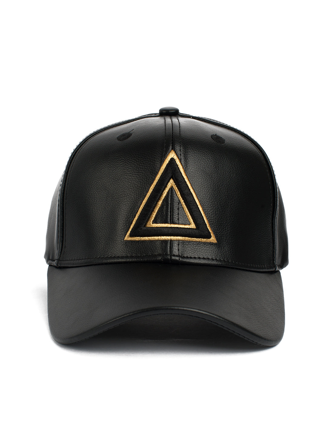 Leather Dad hat Black - gold tri