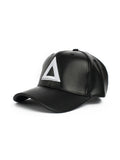 Leather Dad hat Black - white tri - Triangulo Swag