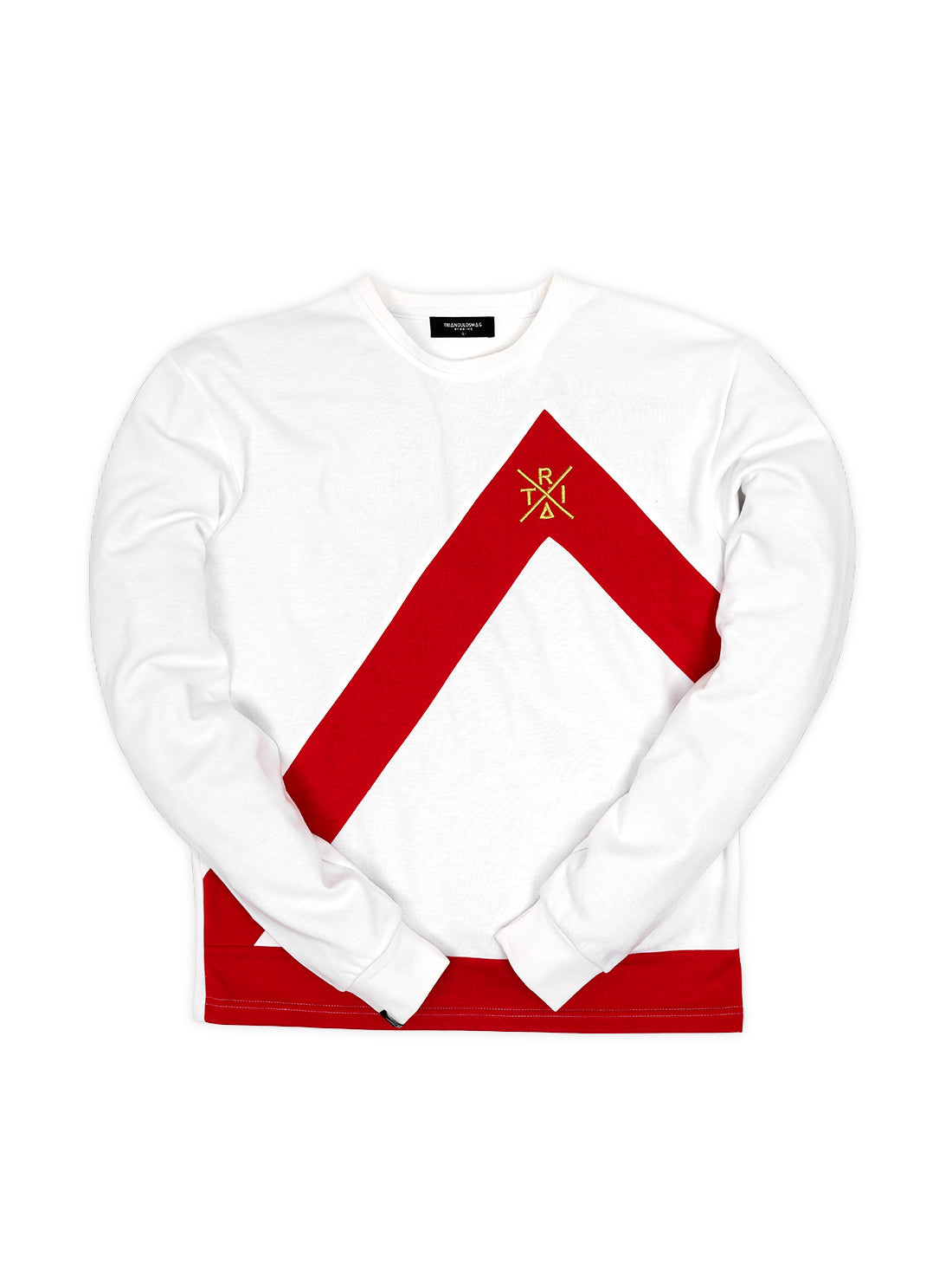 WHITE / RED Triangulo Crewneck
