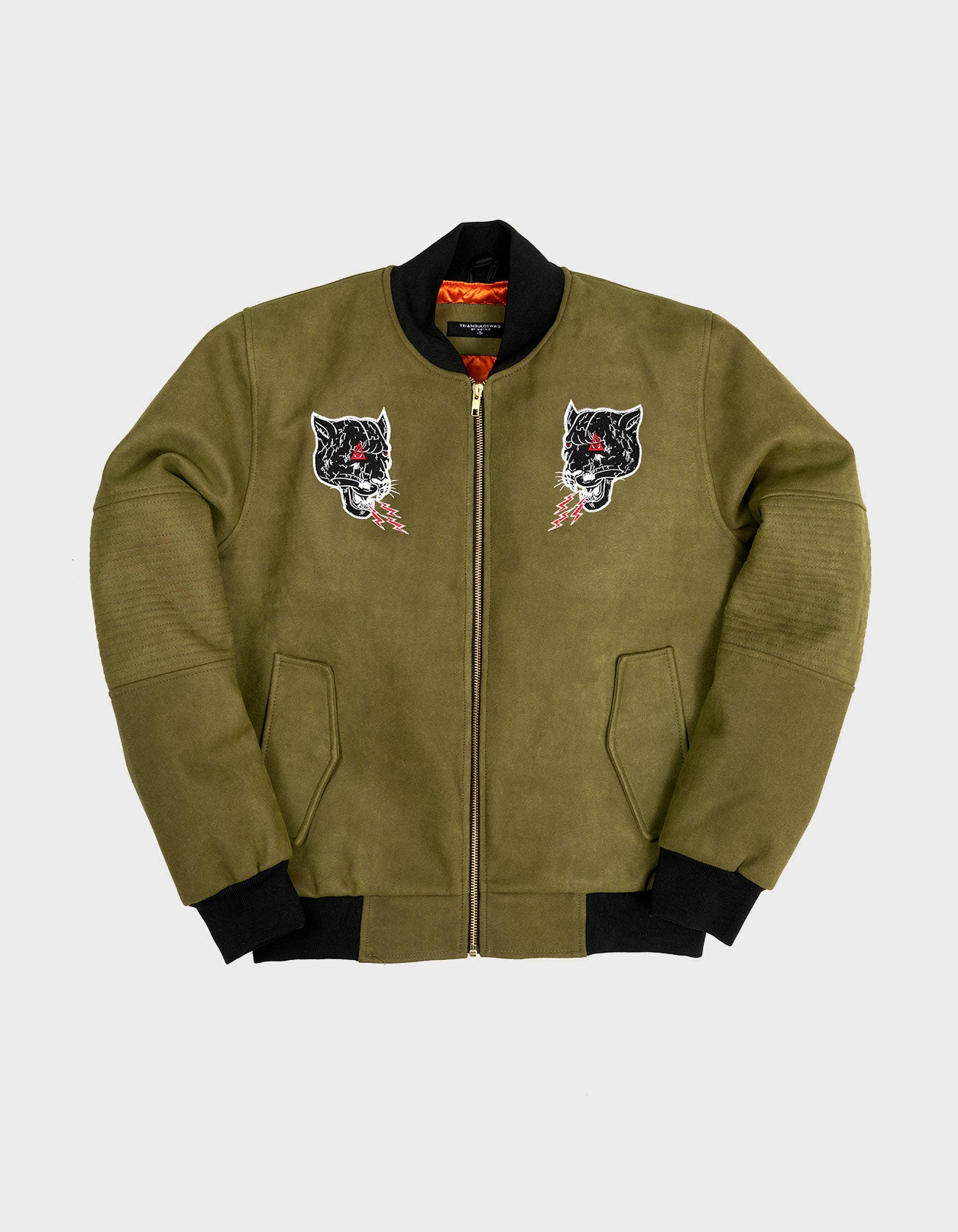 PANTHER OLIVE SUEDE JACKET - Triangulo Swag