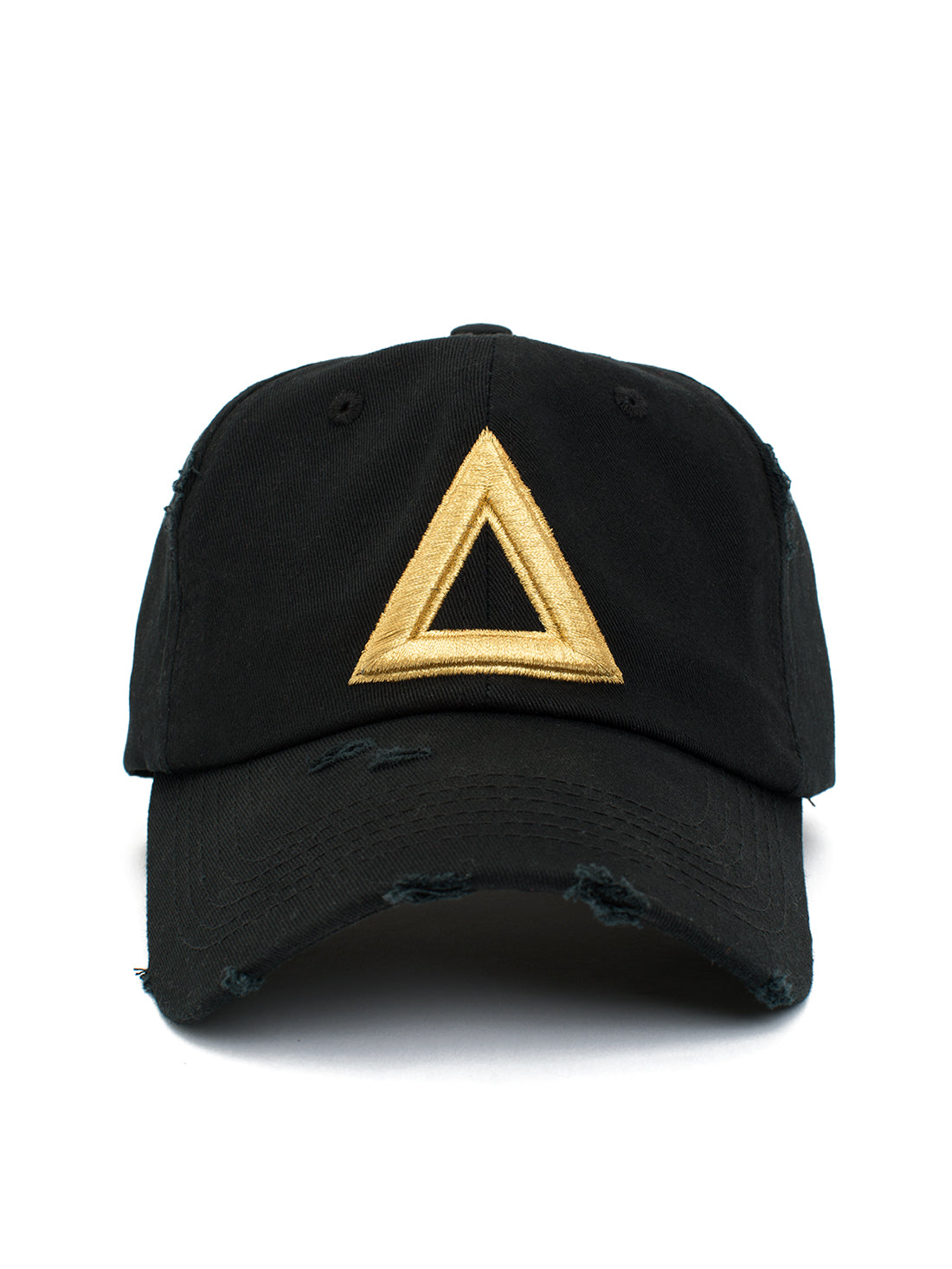 Distress Dad hat Black - Gold Tri