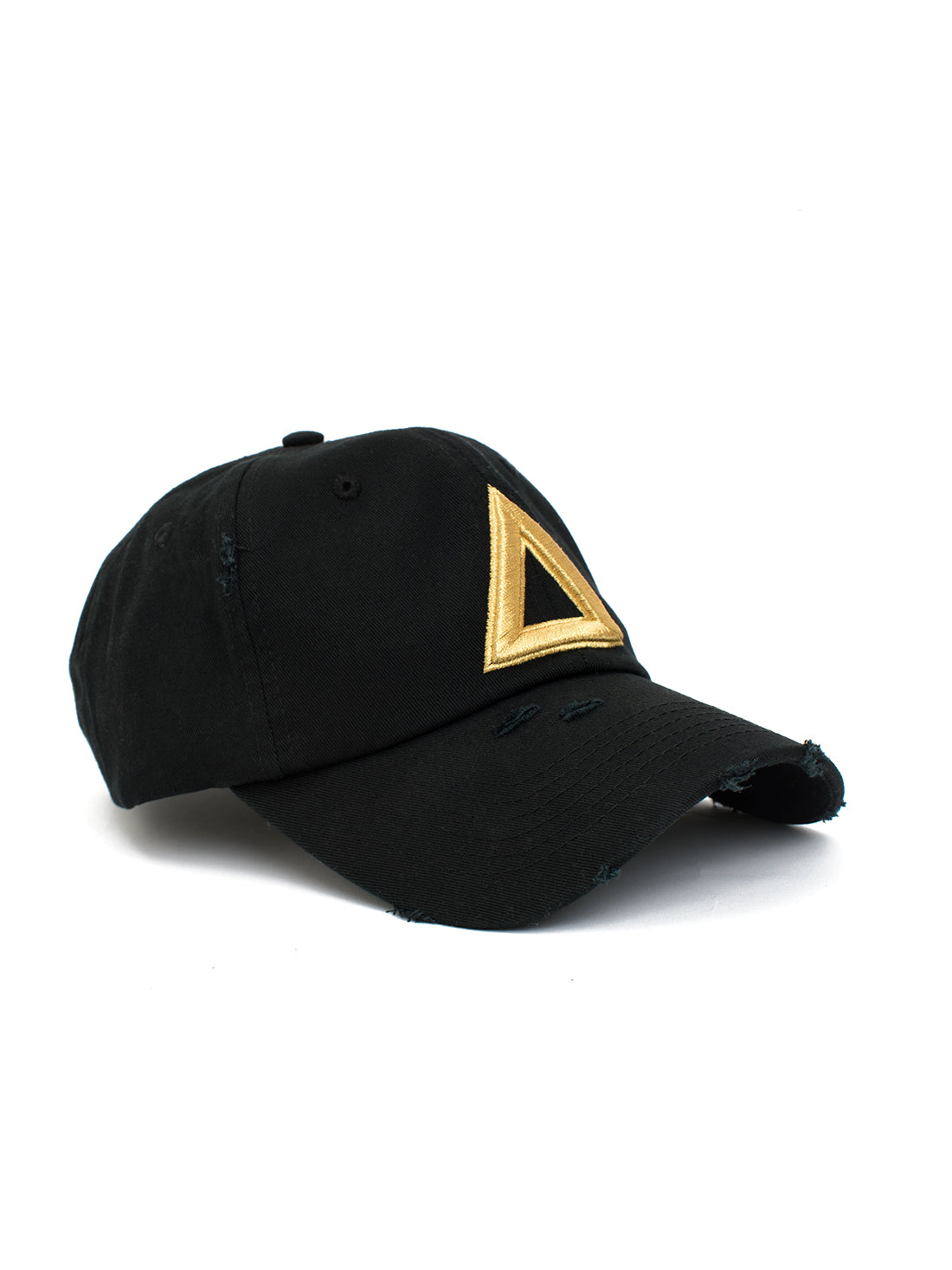 Distress Dad hat Black - Gold Tri - Triangulo Swag
