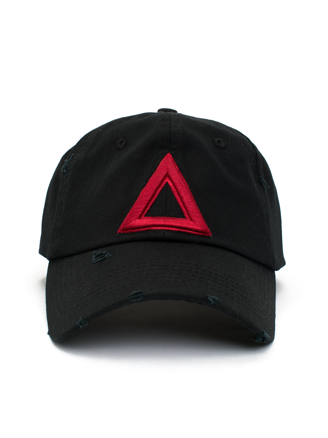 DISTRESS DAD HAT BLACK - Red TRI