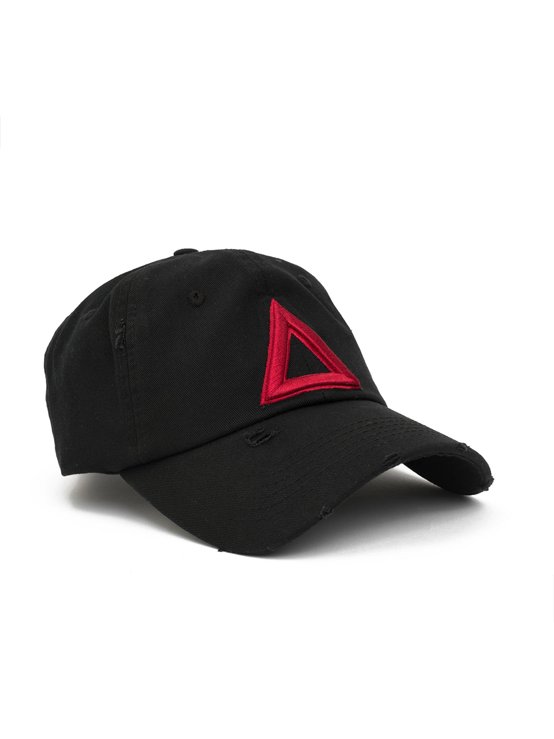 DISTRESS DAD HAT BLACK - Red TRI - Triangulo Swag