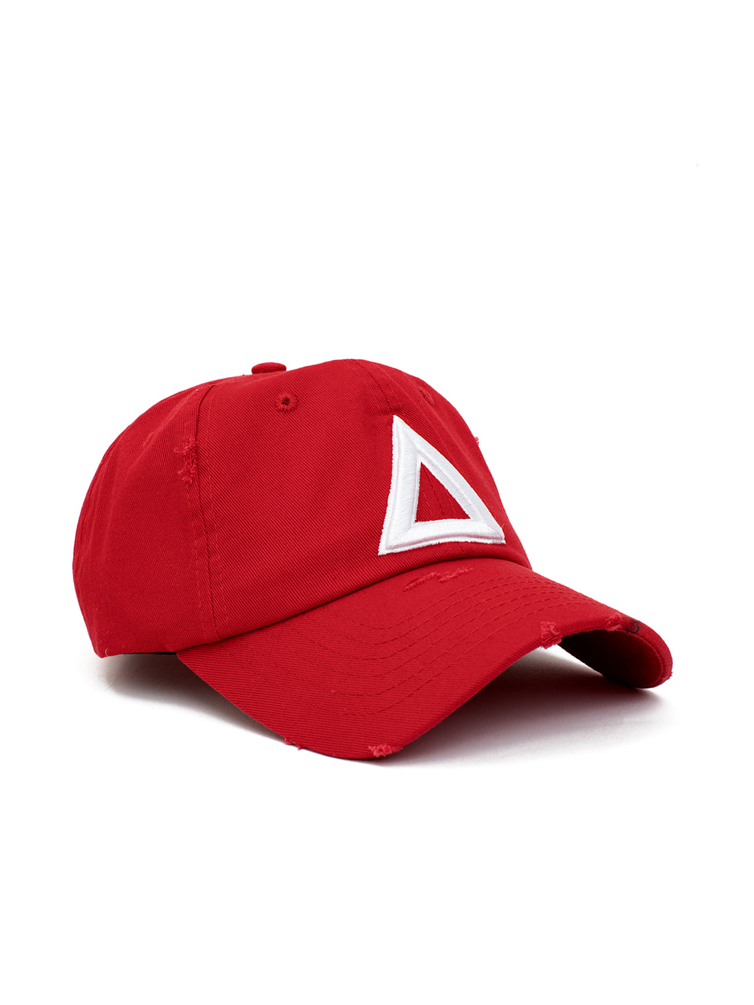distress dad hat Red - white tri - Triangulo Swag