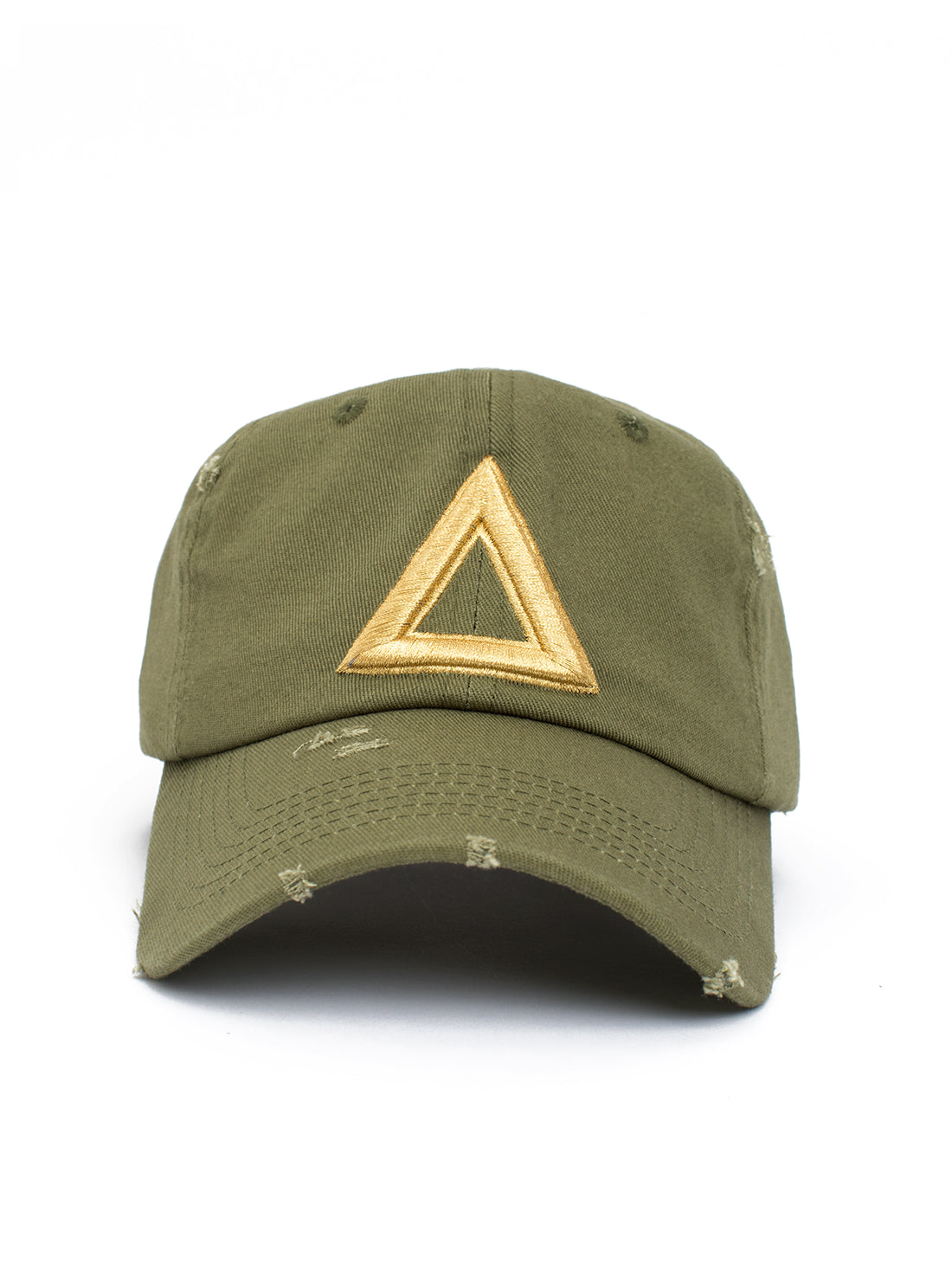 distress dad hat olive green - gold tri