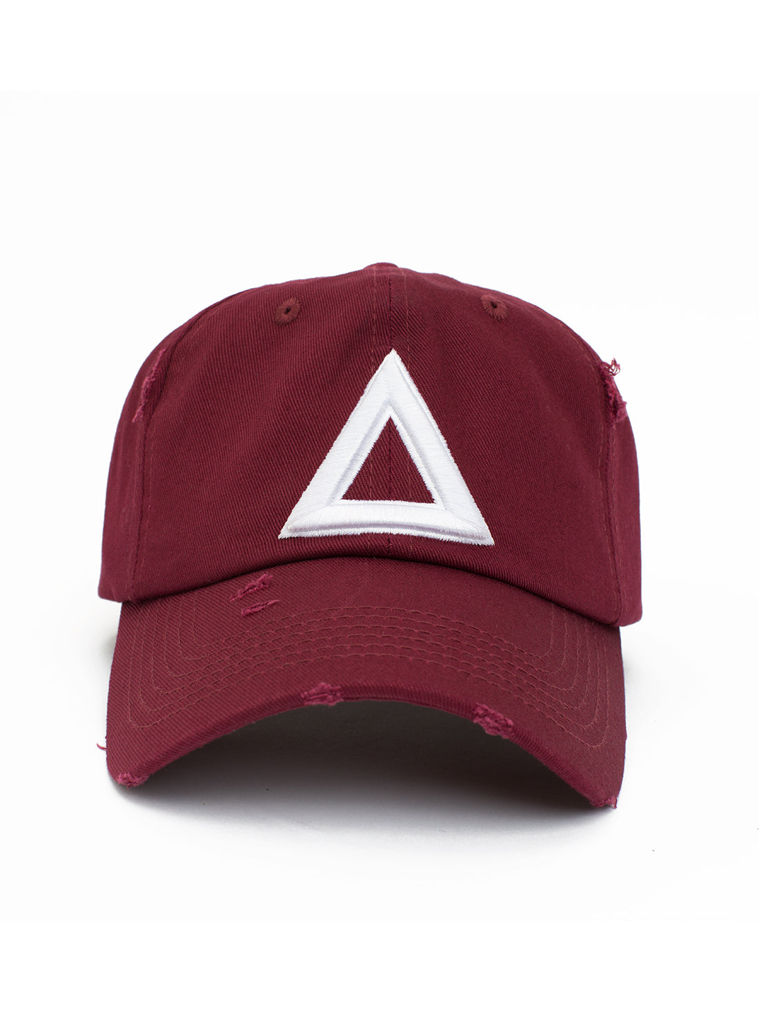 distress dad hat burgundy - white tri