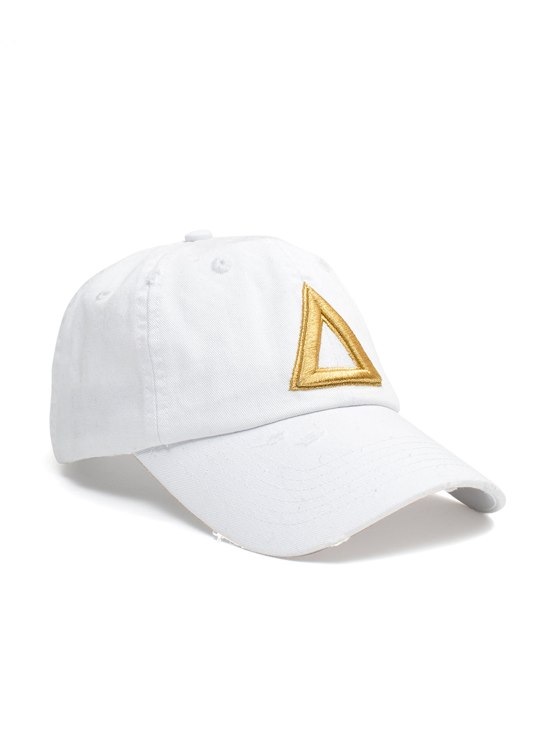 DISTRESS DAD HAT WHITE - GOLD TRI