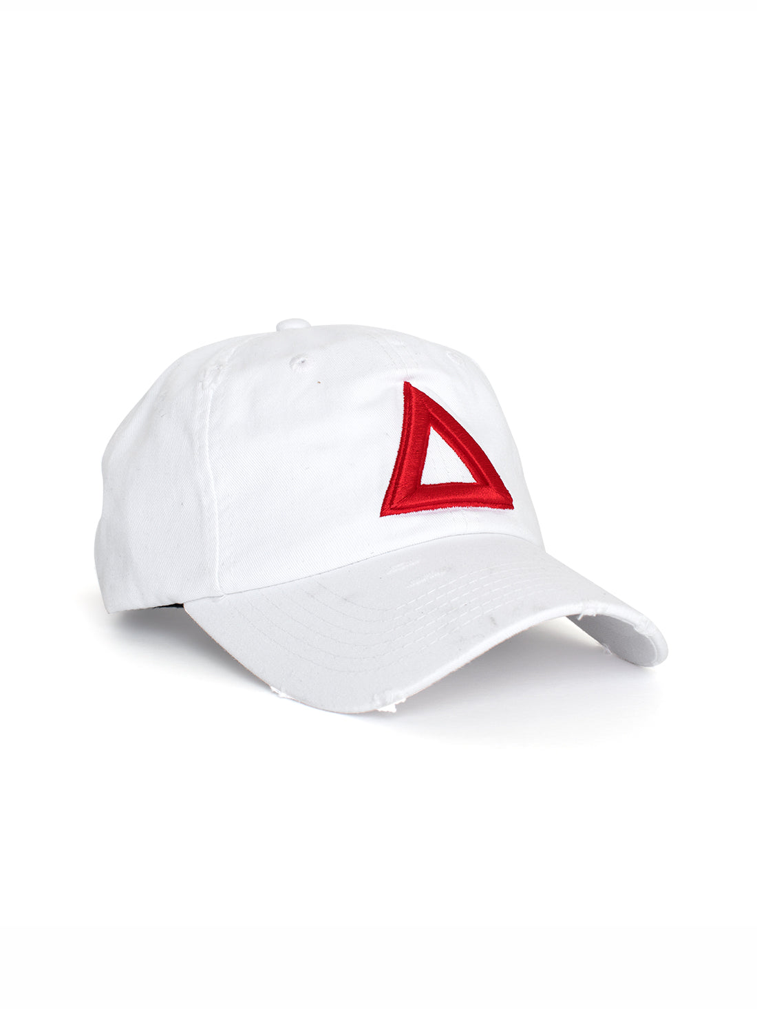 DISTRESS DAD HAT WHITE  - RED TRI - Triangulo Swag