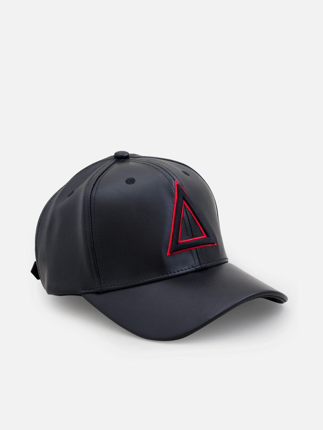 Leather Dad hat Black - red tri