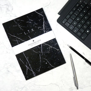 The Personalised Marble Notebook | Black Edition