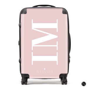 The Personalised Initials Suitcase - Dusky Pink & White Edition