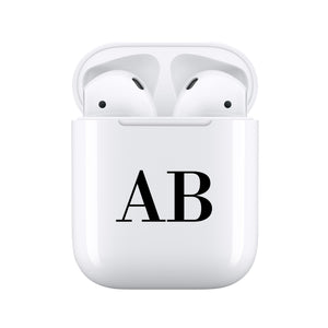 Black Initials - Personalised Wireless Earphones / Pods