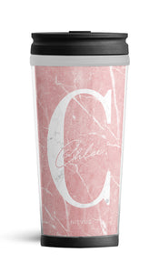 Personalised Travel Mug - Pink Marble Edition