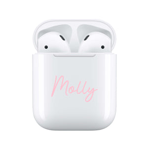 Pink Handwritten - Personalised Wireless Earphones / Pods