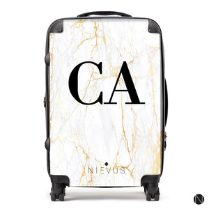 The Personalised Marble Suitcase - White Gold Edition