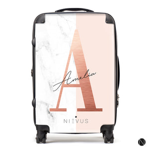 The Personalised Rose Gold Marble Suitcase