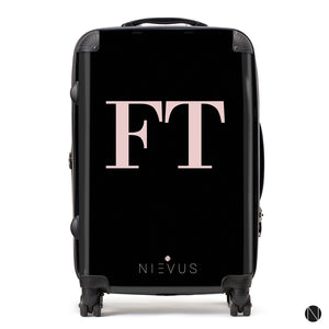 The Personalised Initials Suitcase - Black & Dusky Pink