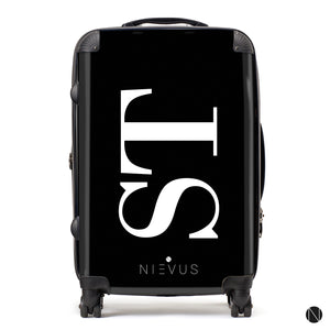 The Personalised Initials Suitcase - Black & White Side Edition