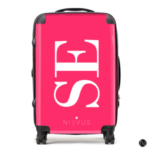 The Personalised Initials Suitcase - Hot Pink Side Edition