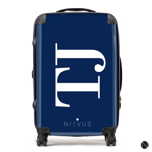 The Personalised Initials Suitcase - Navy Side Edition