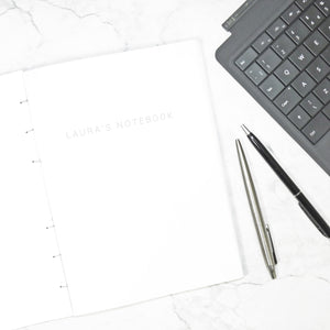 The Personalised Marble Notebook | White Edition