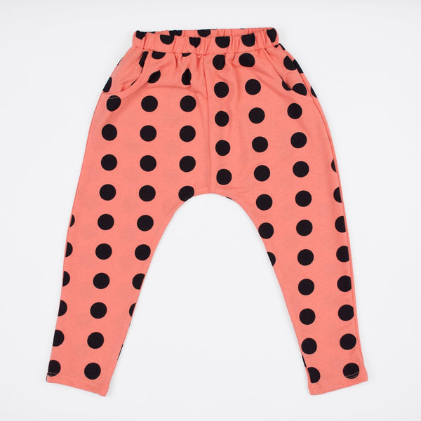kids coral jogger sweat with black polka dots