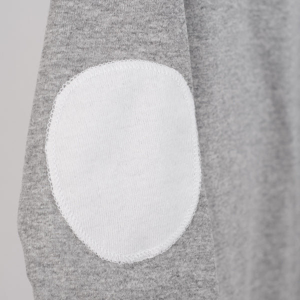 white elbow patch detailing