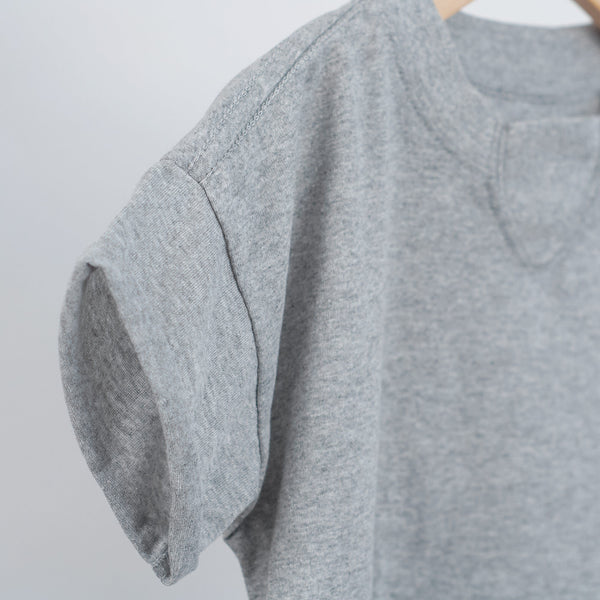 kids oversized grey t-shirt with rolled sleeves hem