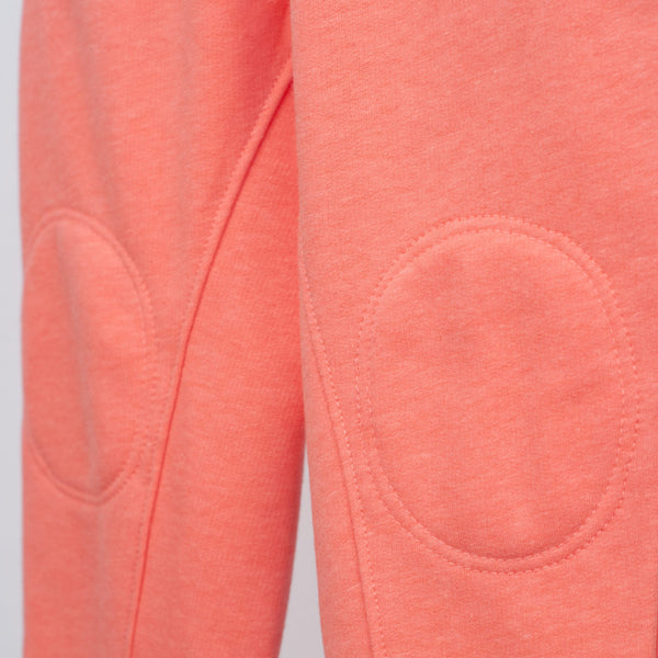 interior knee patches detail on coral jogger
