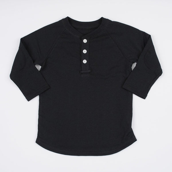 boys black henley shirt with elbow patches
