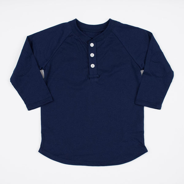boys navy blue henley shirt with elbow patches