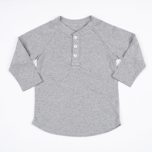 boys grey henley shirt with elbow patches