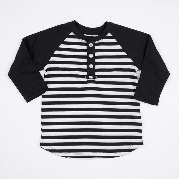 boys black and white striped henley shirt with elbow patches