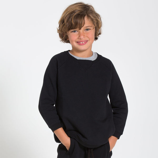 boy in kids black raglan sweatshirt
