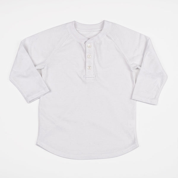 boys white henley shirt with elbow patches
