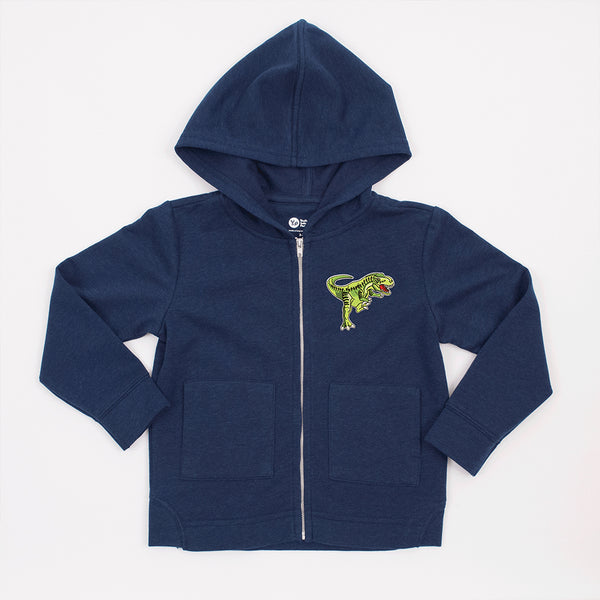 kids navy blue jacket with green dinosaur patch on upper left side