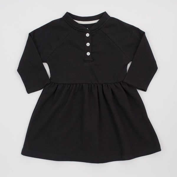 girls long sleeve placket dress in black