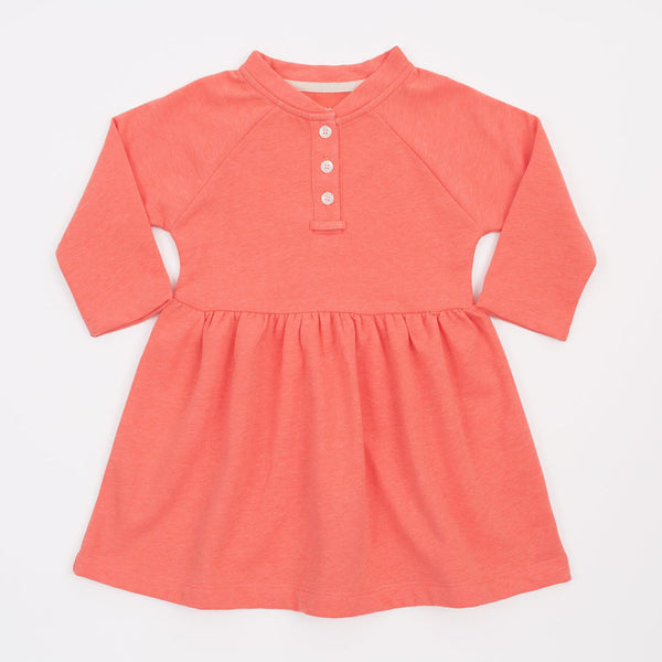 girls long sleeve placket dress in coral