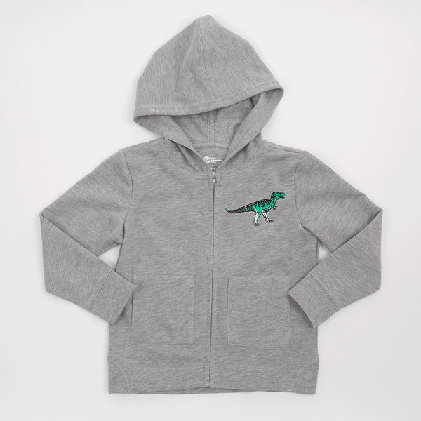 kids grey jacket with green dinosaur patch on upper left side