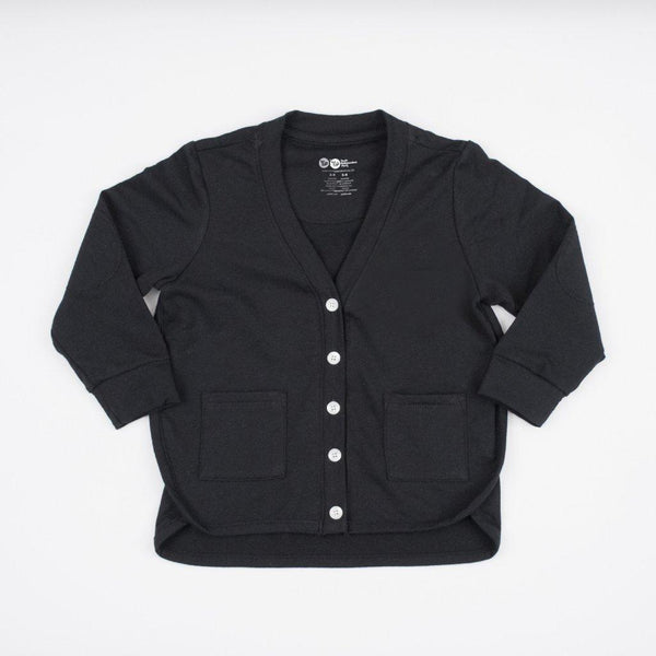 kids black cardigan with front pockets, button closure, elbow patches and side binding detail