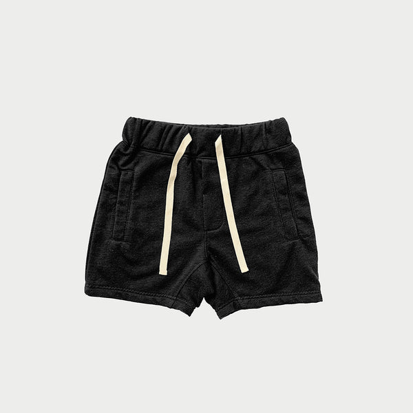 kids drawstring sweat shorts with two front pockets in black