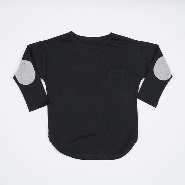 kids black long sleeve tshirt with grey elbow patches