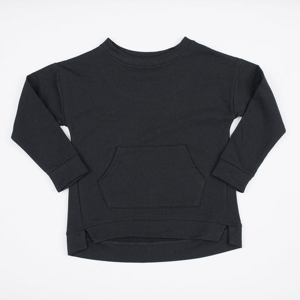 kids black sweatshirt with kangaroo pocket