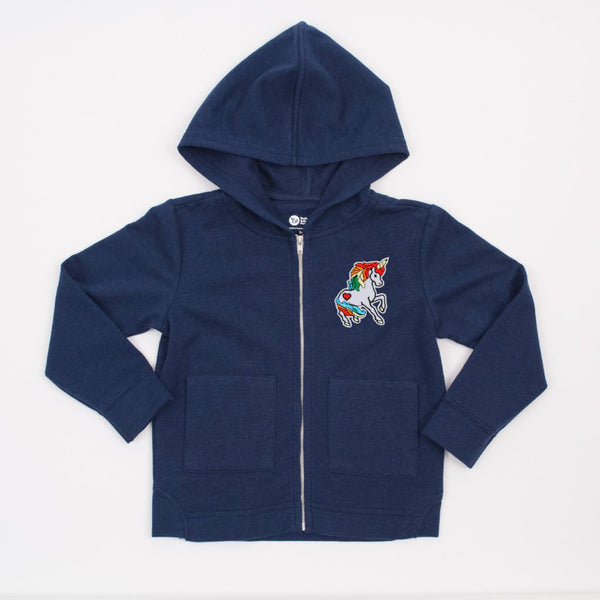 kids navy blue zipper hoodie with unicorn patch on upper front left side