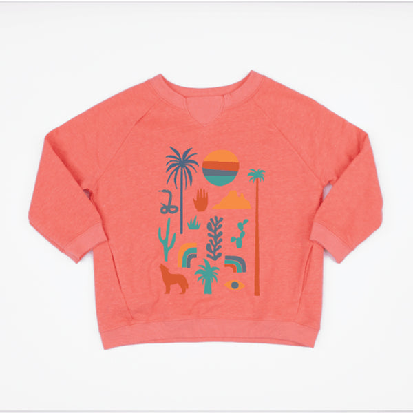 kids raglan sweatshirt in coral with graphic prints