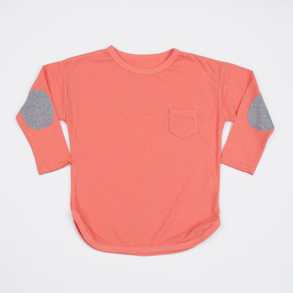 kids coral long sleeve shirt with grey elbow patches