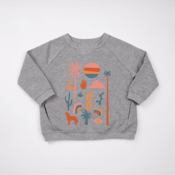 kids raglan sweatshirt in grey melange with graphic prints